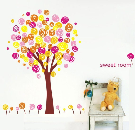 56inch H Colorful Doodle Tree Kids nursery ----Removable Graphic Art wall decals stickers home decor