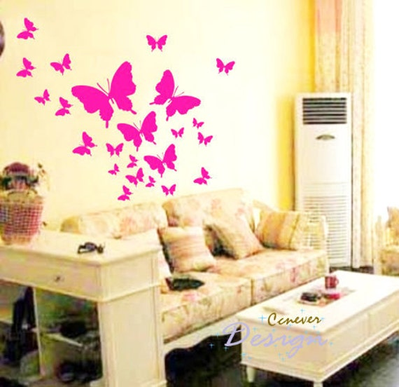 32pcs Art Flying Butterfly----Removable Graphic Art wall decals stickers home decor
