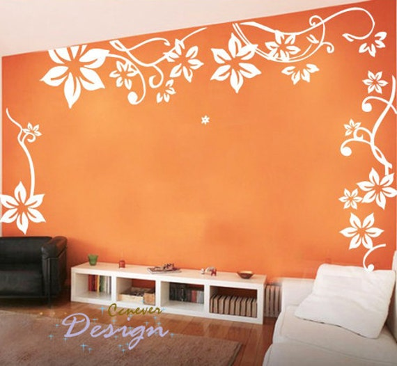 Big Flowers flying----Removable Graphic Art wall decals stickers home decor