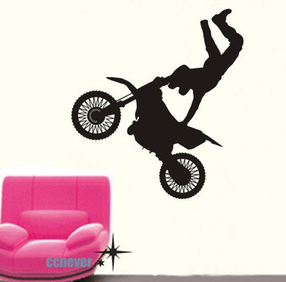 Extreme game Motorcross Bike Personalized Name----Removable Graphic Art wall decals stickers home decor