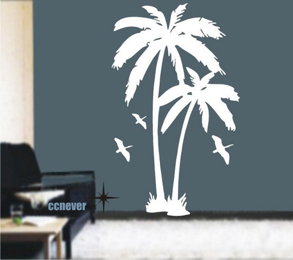 items similar to palm tree birds 72inch removable graphic art wall decals stickers home decor. Black Bedroom Furniture Sets. Home Design Ideas