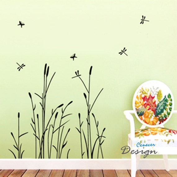 Reed Flower Dragonfly----Removable Graphic Art wall decals stickers home decor