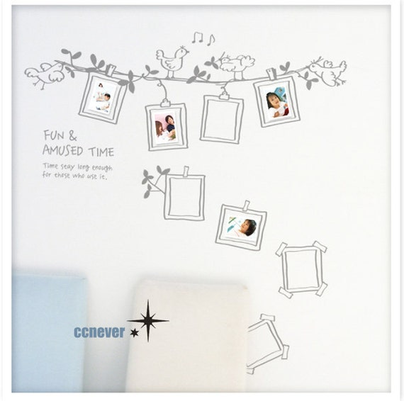 40by32inch birds sing photo frame----Removable Graphic Art wall decals stickers home decor