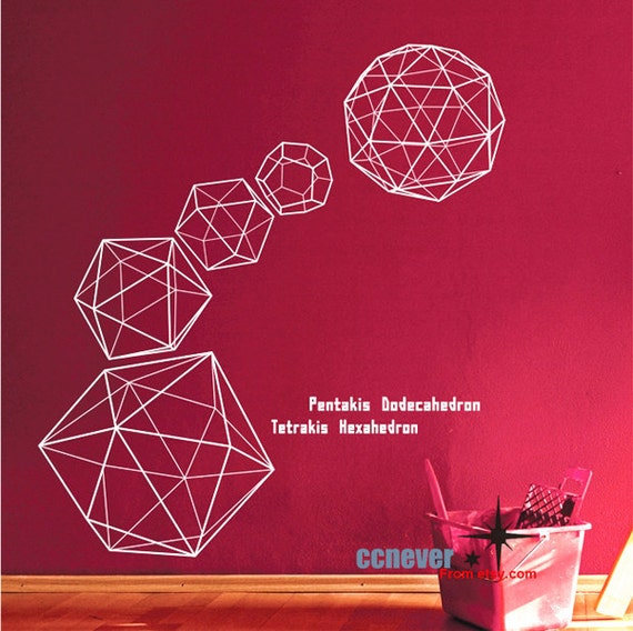 COOL 6 geometry polygon----Removable Graphic Art wall decals stickers home decor
