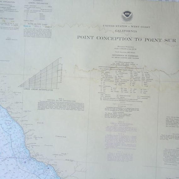 Reserved for karen  ON SALE 6 vintage maritime wall maps california coast
