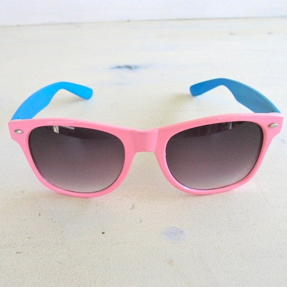 neon pink electric blue 80s vintage sunglasses
