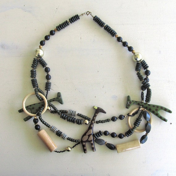 Wood Bead Giraffe Necklace | Vintage African Jewelry
