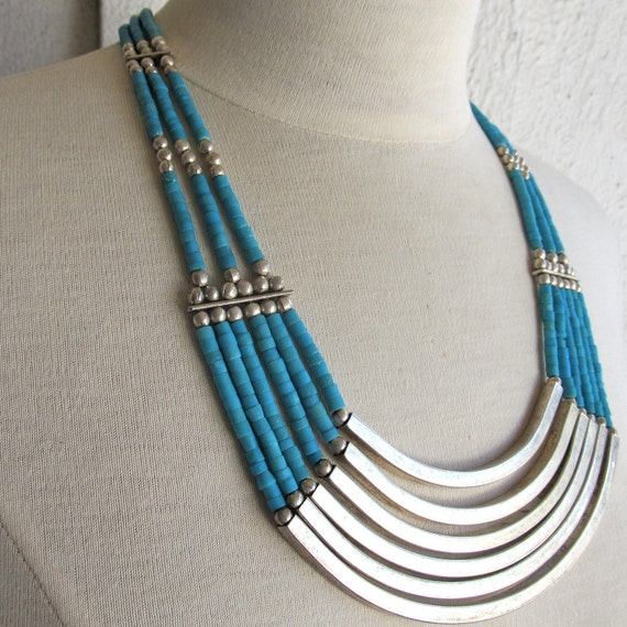 turquoise and silver tribal necklace