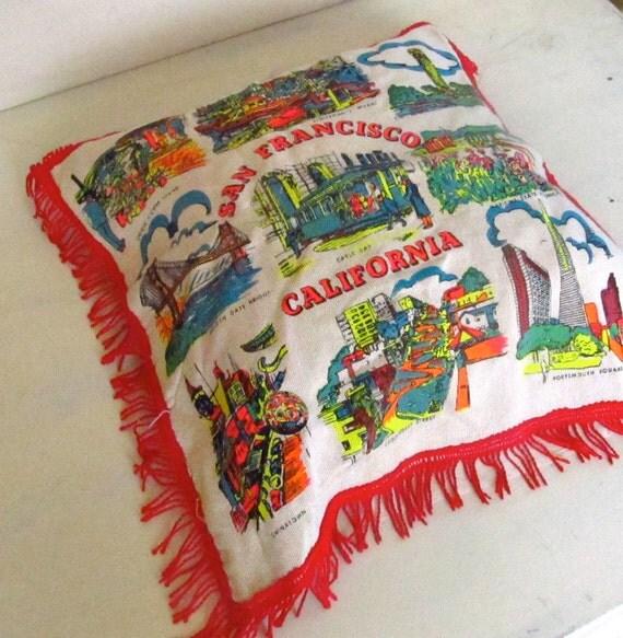 vintage california souvenir pillowcase - san francisco cable cars