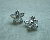 Clear Zircon Flower Post Earrings