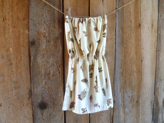 womens dress / eco dress / flannel dress / upcycled strapless dress / rustic themed woodland graphics