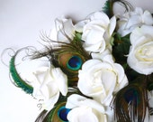 Peacock Feather and Real Touch Rose Bridal Bouquet . Peacock Wedding... Arm, Sheath.