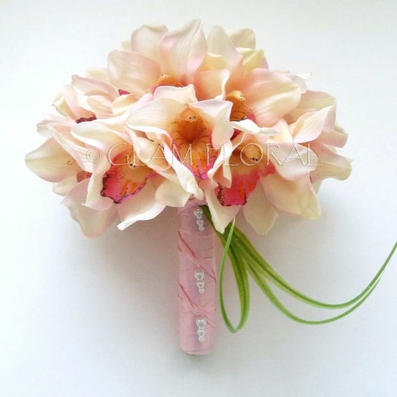 Realistic Orchid Bridal Bouquet - Large. Orange Yellow Flame Red Light Lime Green Light Pink Cream White Lilac
