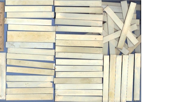 50 old PIANO KEY IVORY tails for inlay, art, scrimshaw, whatever