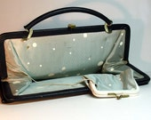Vintage Clutch Pocketbook Navy with Random polka dot lining and short convertible strap HL tag Mad Men era
