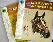 Vintage Art Books - Instruction Books from the 1960s - Grumbacher Library - Drawing Animals and Drawing - Teach yourself how to draw