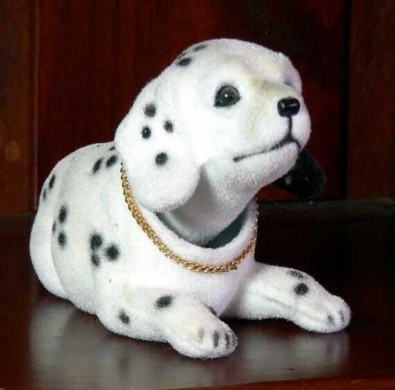 Vintage Nodding Head Dalmatian Dog Flocked Plastic By
