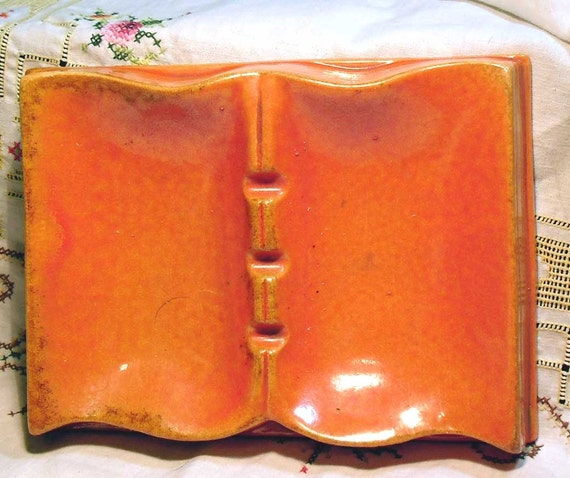 Vintage Redwing Pottery Book Ashtray or trinket tray shaped like a book in pumpkin orange - Mid century 1950s or 1960s