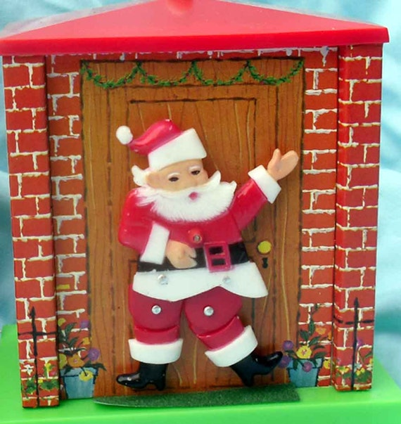 1960s Santa Christmas wind-up musical dancing Santa in original box made in Hong Kong mid century Christmas windup plays Jingle Bells