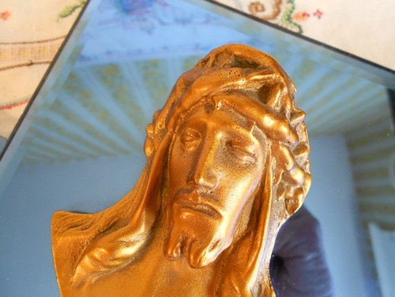 Vintage Jesus and Mary statues on cobalt blue mirrors, gold and blue holy religious decor