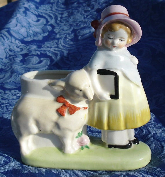 Vintage Nursery Rhyme Planter, Mary Had a Little Lamb figural planter