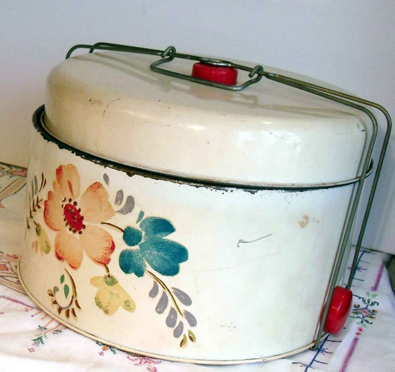 Toleware Canister, cake taker, pie safe - huge vintage storage tin with handpainted tole flowers and bright red plastic knobs
