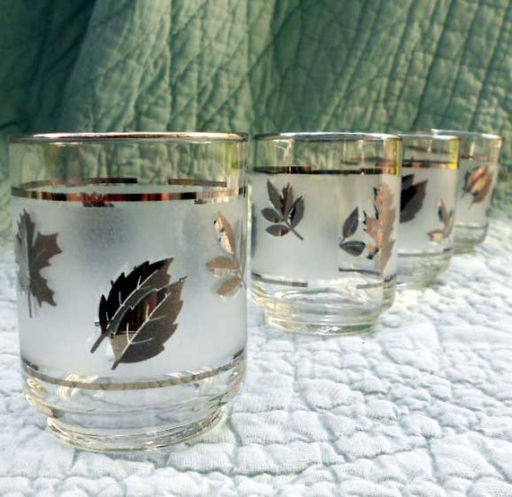 "Vintage cocktail glasses, set of 4 mad men silver leaf ""double shots"" glasses for your swanky bar"