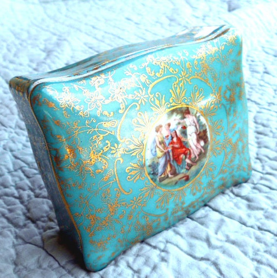 Turquoise trinket box by M & R with romantic Greek goddess and gold lace, for your glamourous boudoir dresser