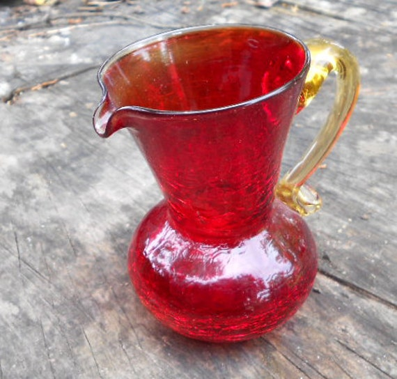 Red Crackle Glass Pitcher with Amber handle, handblown glass for your retro red kitchen windowsill
