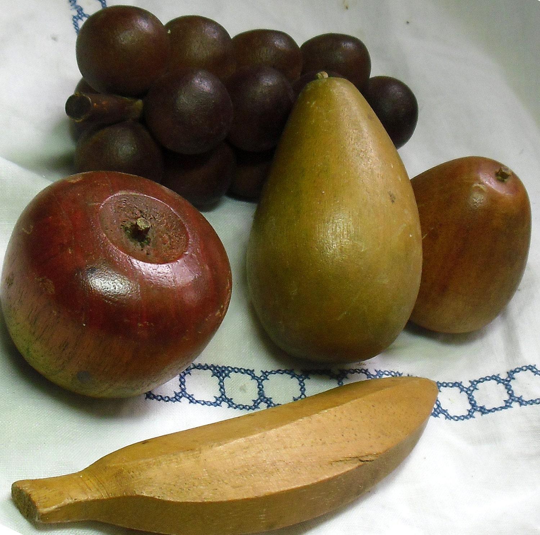 Vintage carved wood fruit apple pear banana grapes