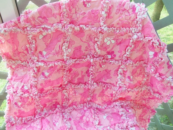 Pink Lounging Lions- Lilly Pulitzer Baby Blanket Rag Quilt