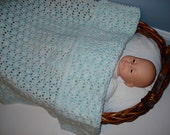Crochet Pastel Baby Infant Soft Warm Handmade Blanket Afghan in Light Variegated Aqua Blue Multicolor Ombre Colors in Shell Trellis Stitch