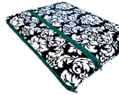 "Personalized Netbook case, 10.1, padded sleeve in ""dandy damask"" black, white, blue green"
