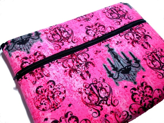 Padded ipad, ipad 2, kindle dx sleeve in pink, black damask with glitter chandelier