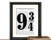 Platform 9-3/4 Harry Potter Book Page Beautifully Matted Gift Decor