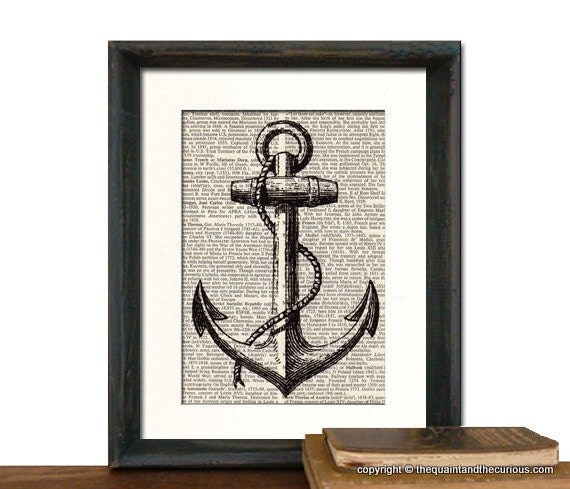 Anchor Nautical Art Print Vintage Book Page Beautifully Matted Gift ... Vintage Anchor Drawing
