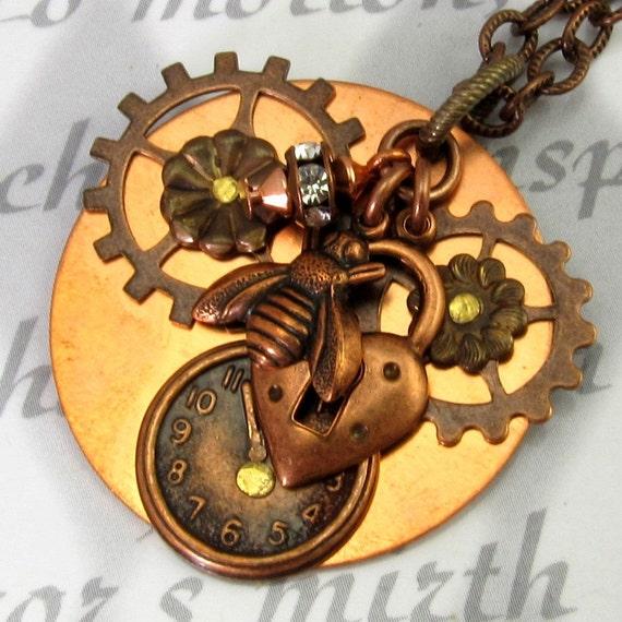 Copper Steampunk Necklace Lock Bee Clock