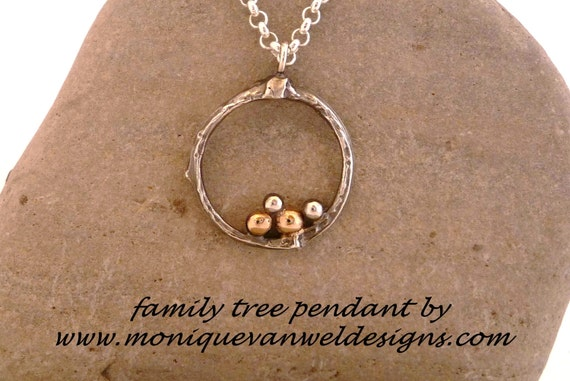Sterling Silver and gold personalized Family tree necklace