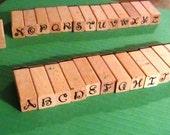 Wood stamp alphabet set CLEARANCE