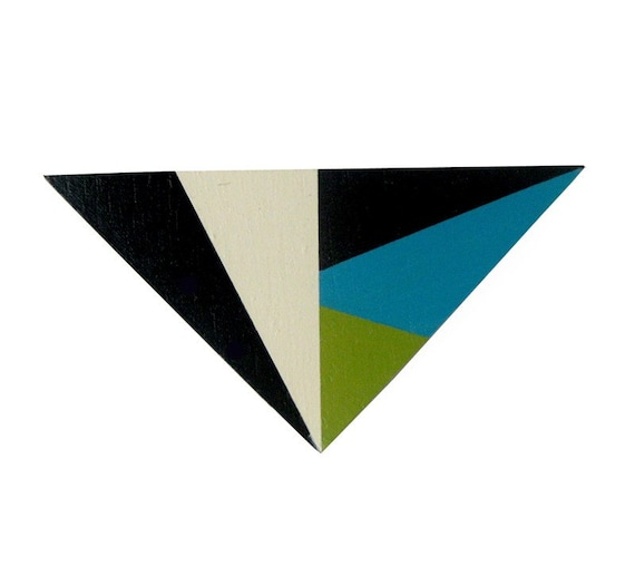 Triangle Brooch Turquoise Green Black
