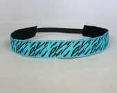 Teal and Black Zebra Print Non Slip Headband