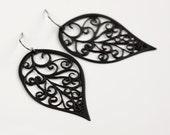 Black Leaf Earrings scroll filigree