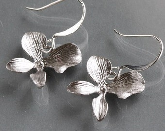 Orchid Earrings, Silver One Flower Design, delicate charm dangle, bridesmaid gift, wedding, by balance9
