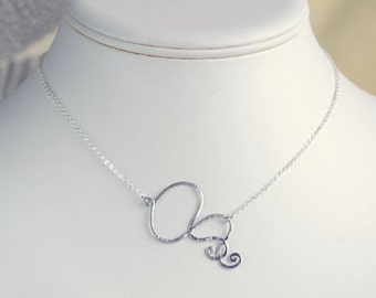 Silver necklace, hammered curve necklace, elegant scroll charm pendant, chic modern everyday jewelry, holidays gift, by balance9