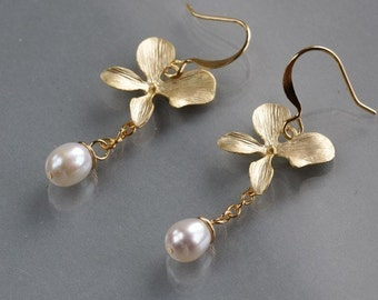 Orchid pearl earrings, gold orchid charm dangle, wire wrapped white pearl drop, bride bridal wedding jewelry, by balance9
