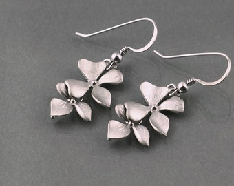 Dainty Orchid Earrings, flower dangle earrings, delicate wild flower, sterling silver ear wire, holidays gift, everyday jewelry, by balance9