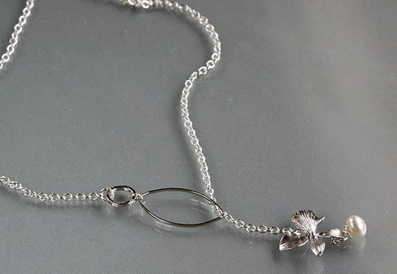 white gold plated orchid flower white pearl lariat necklace
