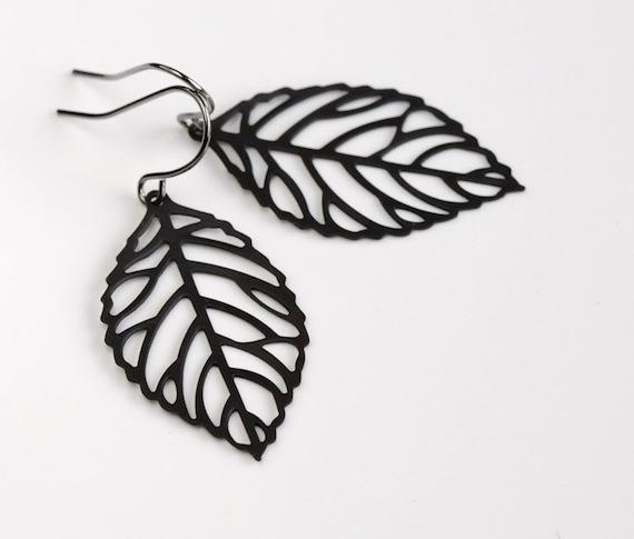 Leaf Earrings, leafy earring, gunmetal black