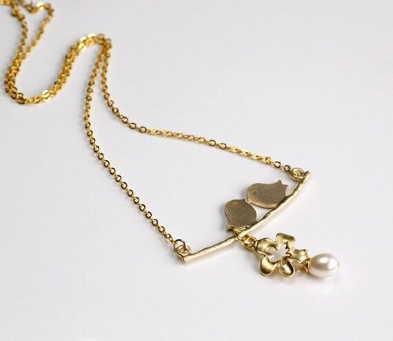 Love Birds Cherry flower pearl necklace golden