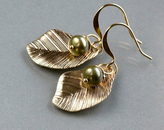 Gold leaf earrings, olive green pearl fruit drop dangle, mom and baby, everyday jewelry, by balance9